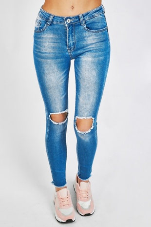Blue Open Knee Mid Wash Skinny Jeans