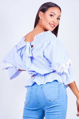 Blue Pinstripe Bardot Crochet Tie Back Blouse