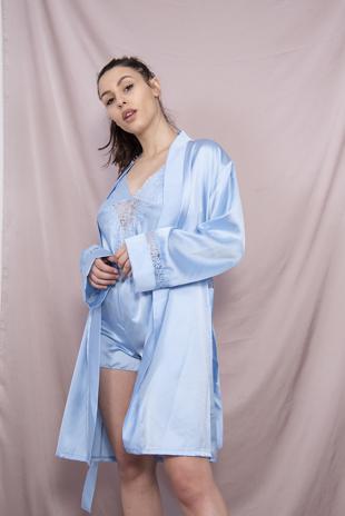 Blue Satin 3 Piece Pyjama Set
