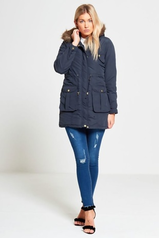 Blue Pocket Detail Fur Hood Parka Coat
