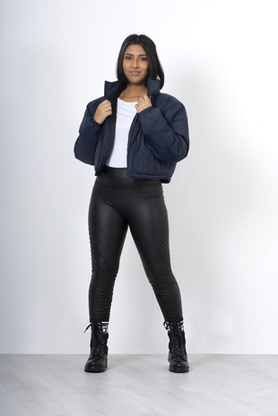 Navy cropped funnel neck jacket
