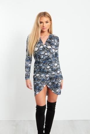 Blue Snake Print Mini Cross Over Dress