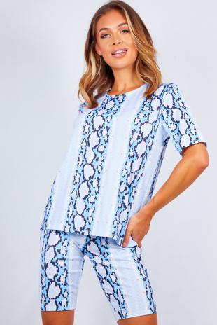 Blue Snake Print T-shirt And Cycling Shorts Set