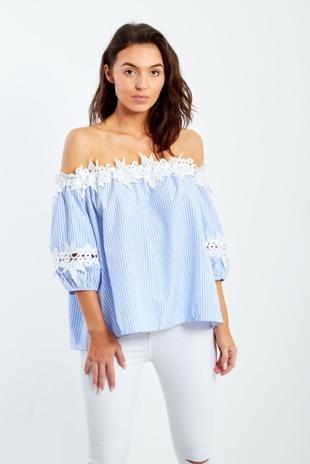 Blue Stripe Crochet Lace Trim Off Shoulder Blouse