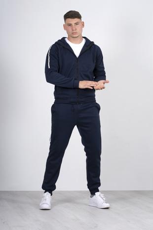 Mens Navy Side Stripe Zip Through Hooded Skinny Tracksuit