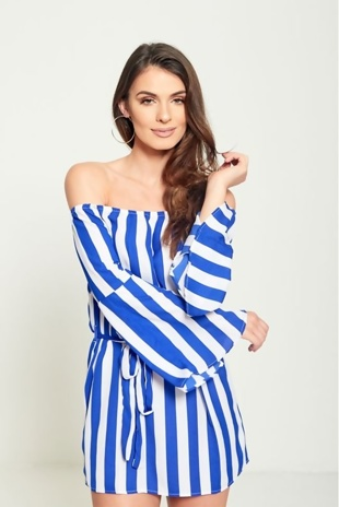 Blue Striped Bardot Belted Dress
