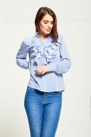 Blue Striped Front Frill Shirt