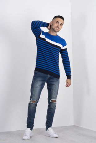 Mens Blue Stripe Contrast Jumper