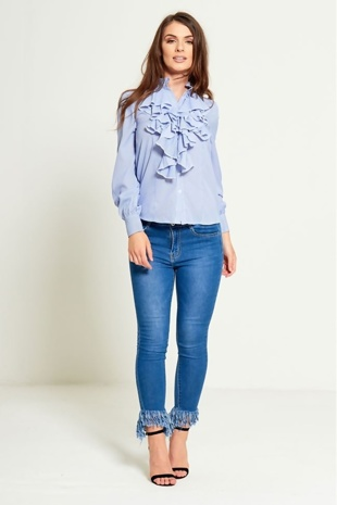 Blue Tassel Hem Skinny Jeans