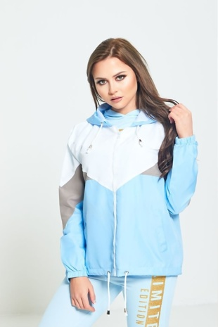 Blue Zip Through Hooded Jacket