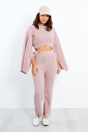 Blush Chunky Knit Crop Top Loungewear