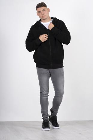 Mens black zip up hooded teddy jacket