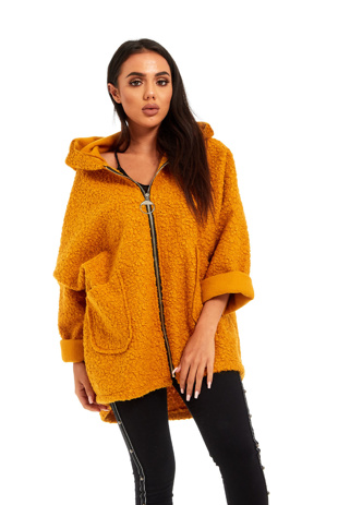 Mustard Borg Dolman Sleeve Teddy Coat