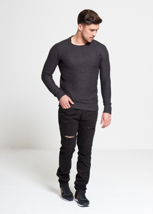 Mens Black Distressed Ribbed Panel Skinny Jeans