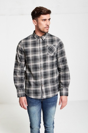 Mens Black Check Button Up Shirt