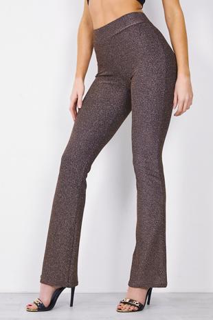 Bronze Metallic Flare Leg Trouser