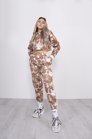 Brown Tie Dye Cropped Hoodie And Jogger Set