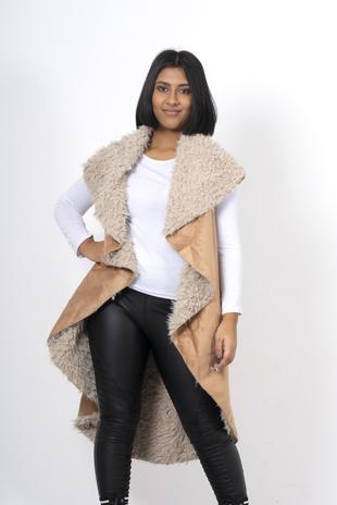 Camel shearling faux suede vest