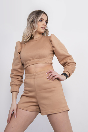Camel Puff Sleeve Cropped Jumper And Short Set