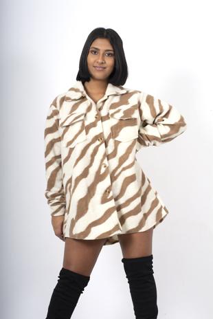 Camel Zebra Print Shacket
