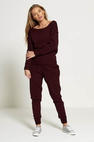Burgundy Loose Fit Lounge Wear Jogger Set