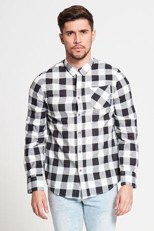 White and Black Checked Shirt