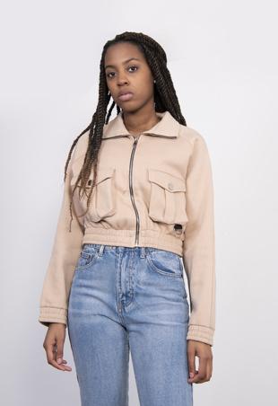 Beige Cargo Pocket Cropped Zip Sweatshirt
