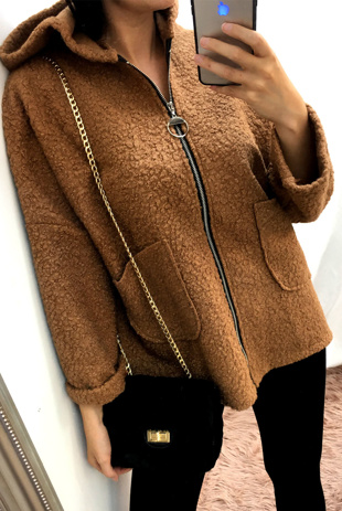 Camel Borg Dolman Sleeve Teddy Coat