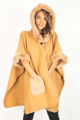 Camel Faux Fur Detailing Hood Cape