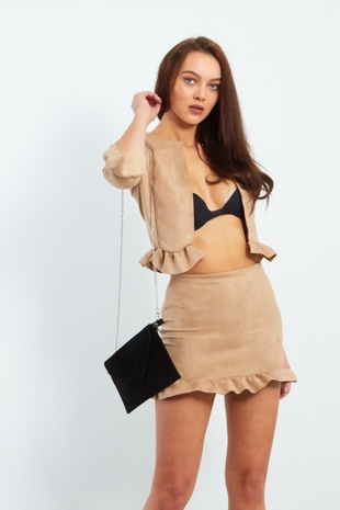 Camel Faux Suede Frill Hem Jacket And Skirt Set