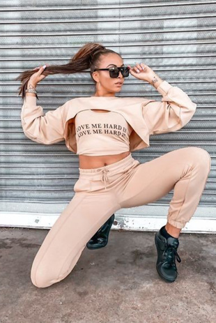 Camel Love Me harder Slogan Crop Top 3 Piece Tracksuit