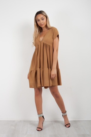 Camel Plunge Neck Ruffle Mini Dress