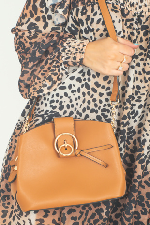 Camel Ring Detail Cross Body Bag