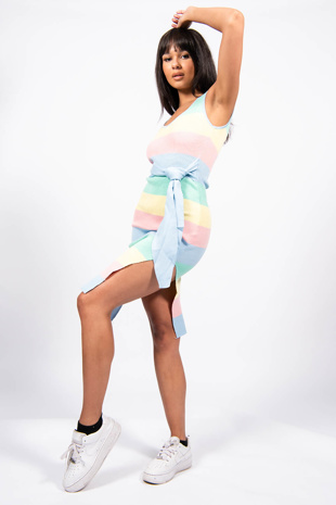 Blue Candy Stripe Ribbed Tie Waist Dress