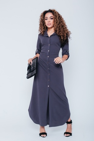 Charcoal Belted Shirt Maxi Dress