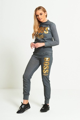 Charcoal Boss Lady Customized Tracksuit