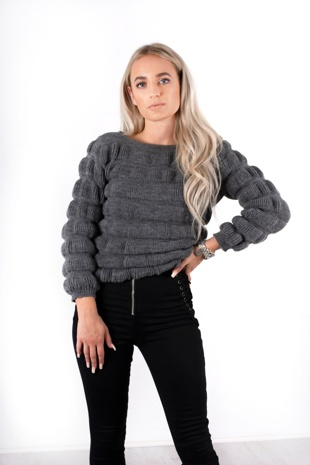 Charcoal Chunky Knitted Jumper