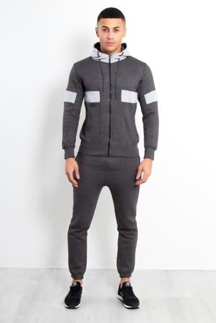 Charcoal Contrast Grey Panel Hood Tracksuit