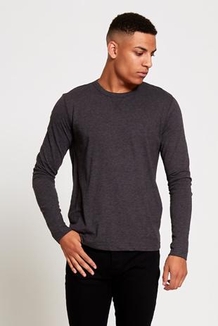 Charcoal Crew Neck Long Sleeve T-Shirt