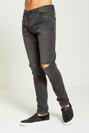 Charcoal Knee Ripped Skinny Jeans