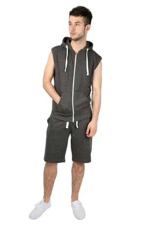 Charcoal Sleeveless Hooded Short Set