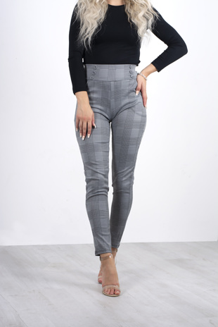 Grey plaid tailored cigarette trousers