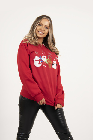 Red Novelty Celebration Christmas Jumper