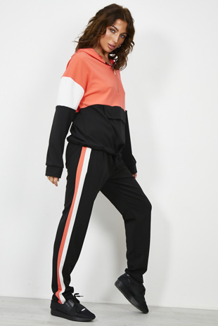 Coral Colour Block Half Zip Hoodie Loungwear Set