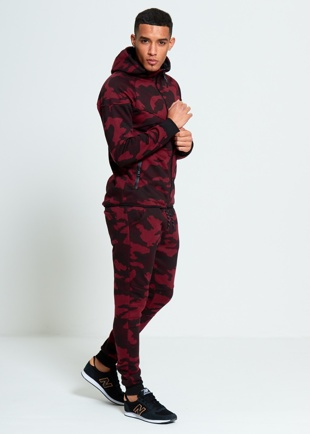 Mens Wine Camouflage Print Hooded Tracksuit