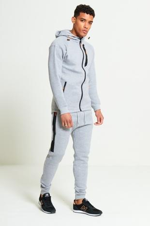 Mens Grey Zip Detail Hooded Tracksuit