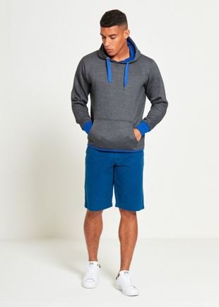 Mens Charcoal Contrasting Pull Over Hoodie
