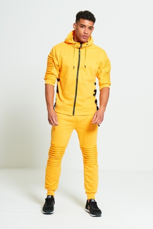 Mens Yellow 3/4 Sleeve Ribbed Detail Tracksuit