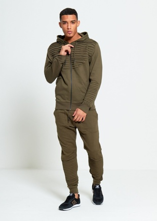 Mens Khaki Ribbed Detail Loungewear Tracksuit