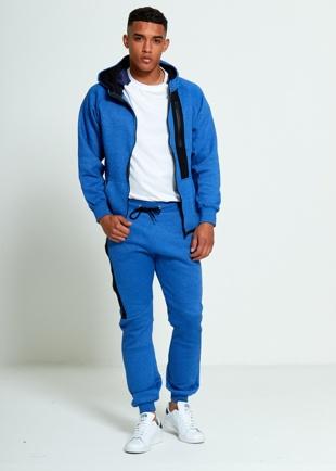 Mens Denim Zip Detail Fleece Hooded Tracksuit
